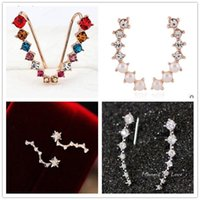 Wholesale 2017 Women Fashion Rhinestone Silver Crystal Earrings Ear Hook Stud Jewelry Gift NEW