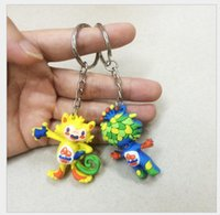 Wholesale Brazil Rio Olympic mascots sided Fashion keychain Souvenir keychain Vinicius Tom dolls keyrings Christmas gift