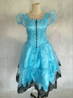 alice blue gown - Freeship blue veil dress alice in wonderland gown alice cosplay fairy stage performance