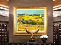 art reproductions canvas - Handpainted Impressionist Landscape Canvas Painting Harvest Van Gogh Oil Painting Reproductions quadro pintura sem moldura Art
