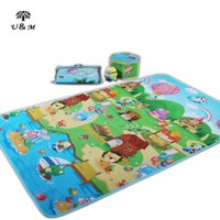 Wholesale 2016 authorized healthy new style baby play mat with high quality double site animal and red house