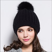 ball protective tops - Black White Fashion Fur Pompom Warm Beanie Women Hat Brand Lady Brand Wool Ski Hat Cap With Fur Ball Top Knitted Beanie Bonnet