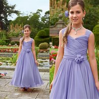 best christmas pictures - Best Selling Lavender Flower Girls Dresses For Weddings Spaghetti Straps Pleats Draped Chiffon Kids Formal Prom Party Dress Gowns