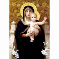 art bouguereau - The Virgin of the Lilies William Adolphe Bouguereau reproduction Wall paintings modern Wall art canvas decoration oil painting