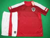 Austria uniformes rojos caseros de fútbol atlético de fútbol kit deportivo calidad de Tailandia de fútbol de manga corta diseñador de los hombres jersey fija el envío gratuito
