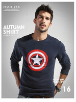 america sweaters fashion - 2016 Fall Hot Sale European Men Sweaters Captain America Sweater For Men Long Sleeve Round Neck Sweater