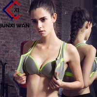 Wholesale Women Front Zipper Sports Bra Seamless Push Up Shockproof Top Underwear Running Gym Fitness Jogging Yoga Bras WWX0088