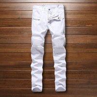 Wholesale Famous Brand Designer Mens balmain Biker Jeans Pleated White Motorcycle Jeans For Men plus size hip hop men jogger pants No Belt