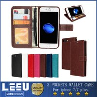 Leather photo frame stand - iphone plus s plus s7edge wallet case with photo frame cash slot stand flip cover phone case pouch PU leather case good quality