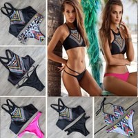 Wholesale 5 Colors Sizes Sexy bikini New Design Psychedelic Push Up Women Retro High Neck Bikini Set Geometry Bath Suit Bottom Swimwear