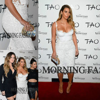 Cheap Free Shipping Kim Kardashian Evening Dresses Sweetheart Formal White Lace Short Celebrity Dresses Evening Party Gowns Vestidos De Fiesta