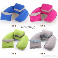 Wholesale Portable Folding Travel Air Pillow Inflatable U Shape Neck Blow Up Cushion PVC Flocking Outdoor Camping Office Plane Hotel