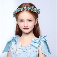 beautiful head wreath - 2016 Wedding Bridal Girl Head Flower Crown Wreath beautiful blue pink Rattan Garland Headband Hair Accessories
