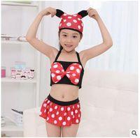 Wholesale 2016 new children swimwear split sets with cap girls Bikinis Polka Dot female baby swimwear children girls swimsuit kids swim DHL
