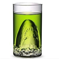 Wholesale cocktail glassware champagne glass creative shark double wall heat resistant glass customized bar supplies