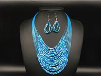 al por mayor multilayer necklace earrings-El más nuevo de la manera fija la joyería de la vendimia de Bohemia del comodín de múltiples capas colorido de los granos de África Declaración collar pendientes establecidas KX