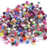 Wholesale 100Pcs Mixed Stainless Steel Acrylic Ball Sexy Punk Bar Body Piercing Jewelry Eyebrow Barbells Tongue Piercings Lip Tongue Rings Unisex