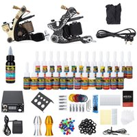 Wholesale Solong Tattoo Kit Carbon Steel Wrap Coils Machine Gun Power Supply Needles Colors for Artist Beginner Tattoo Kits Y