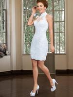 Wholesale Short Wedding Dress HIgh Neck Sleeveless Button Knee Length White Lace and Applique Bridal Dresses Gown Vestido De Noiva