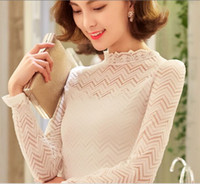 Wholesale Korean Ladies Chiffon Ruffle Blouse - Wholesale New Arrival Fashion Korean Slim Lace White Stand-Up Slim Temperament Lvkong Lace Foreign Trade Lady Tide Long-Sleeved Blouse