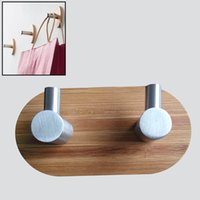 bamboo towel holder - New Arrival Bamboo Stainless Steel Wall Hanger Viscose Robe Hooks Clothes Hanger Kitchen Bathroom Towel Holder JI0162