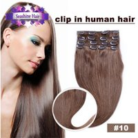 Wholesale 6A Peruvian Clip in Human Hair Extensions Peruvian Straight Virgin Hair Clip in Extension Multiple color b set inch
