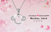 Wholesale lingdong fashion monkey head pendant new Sterling Silver Chain Necklace Jewelry box gift for Valentine s Day