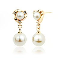 arrival chandelier jewelry - New Arrival Crystal Double Ball Imitation Pearl Drop Dangle Earrings for Women Girl Elegant Drop Ear Jewelry