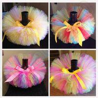 Wholesale 8 Designs Kids Rainbow Tutu Dress Princess Party Dress Tulle Skirt Ribbon Dress Pettiskirt Dancewear Ruffle Skirt LJJC5154
