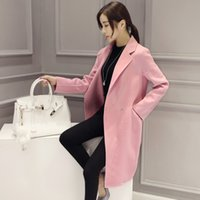 Wholesale Women s Wool Blend Trench coat jacket Slim temperament long section of dark button winter overcoats four colors size