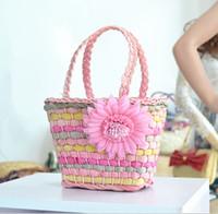 corn husk - 19X15CM European children little girl women handbag corn husk woven bag with big flower A2286