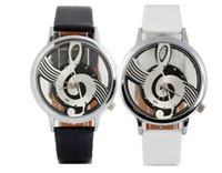 analog music - South Korea Style Fashion Personality Male and Female Leisure Fashion Business Leather Watch Music Notes Hollow Glass