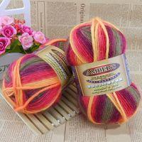 Wholesale g Novely Space Dye Wool Sweater Scarve Hats Knitwear Handmade Yarn For Knitting Crocheting Rainbow Wool Yarn DIY Yarns