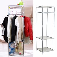 Wholesale DIY Coat Metal Closet Storage Organizers Wardrobe Clothes Rack Hanger Home Sundies Shelves Multifunctional