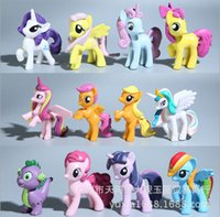 applejack pony toy - 12pcs set My Little Pony pony doll toys Twilight Sparkle Rainbow Dash Applejack Rarity Fluttershy Pinkie Pie