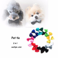Wholesale 2pcs Newly Design Color Fashion Polyester Solid Pet Dog Cat Bow Tie Neckties Pets Grooming Accessories