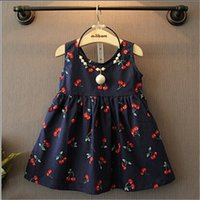 Wholesale Baby Girl Dress New Summer Kids Fashion Casual Sleeveless Cute Cherry Print Cotton Backless Dresses