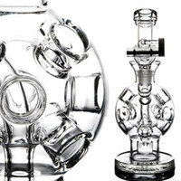 Wholesale Holes ball Fab Egg Recycler Dab Rigs Thick Glass Bongs Function Glass Water Pipes Smoking Pipe Hookahs mm Joint Shisha