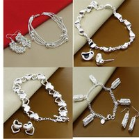 Wholesale 4 Style set a Silver fashion WOMEN cute round Round hollow beads charms pendant earring bracelet set SE01