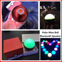 Cheap Poke Mon Bluetooth Speaker Colorful Night Light LED Dance Magic Pokeball Elves Ball Wireless Stereo Music TF card MP3 Subwoofer