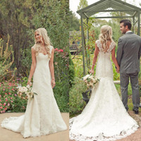 Wholesale Stella York Dresses Mermaid Lace Wedding Dresses Sweep Train Tiers Covered Buttons Lace Bridal Gowns