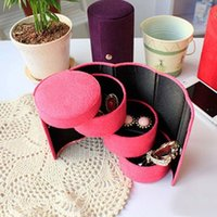 Wholesale Essential Jewelry Box Flannel Three Tier Round Portable Multi Function Jewelry Boxs Jewelry Storage Bags