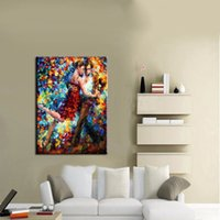 artwork dancers - Professional Modern Artist Artwork High Quality Hand Painted Tango Dancer Oil Painting On Canvas For Wall Art Decor Pictures