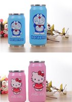 Wholesale Cartoon Cola cups Vacuum Thermos Mugs Stainless Steel Anime Figures Coffee Cup With Lids Straw Bottle