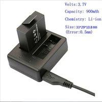Wholesale 1pc sjcam Battery V mAh Lithium rechargeable bateria With Dual Charger For SJ SJ4000 SJ5000 SJ5000 Plus SJ6000