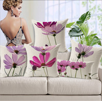 Wholesale OEM Fast Shipping Floor Flower Cushion Covers to Pad Small Pink Flowers Elegant Home Decor Cases Discount Linen Cloth Shell for Pillow