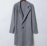 Wholesale Tracyexp new style Brand new Winter Men s clothing Men s long sleeve sweater Men s outerwear Coat wool blends gray M XL