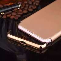 apple case rounds - 3 Parts Deluxe PC Hard Case For Iphone Plus Iphone7 I7 in Electroplate Metal Metallic Round Hole Hybrid Skin Cover Shell Phone