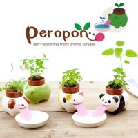 Wholesale new fashion hot Porcelain Peropon Drinking Animal Planter Mini Self Watering Animal Tougue Pot