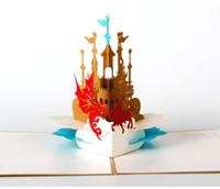 pop up birthday card - 3D pop up laser cut out cards knight and castle creative gifts postcard birthday greeting cards for lovers